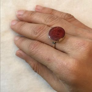 Jewelry - GENUINE 925 Solid Sterling Silver Red Coral Ring